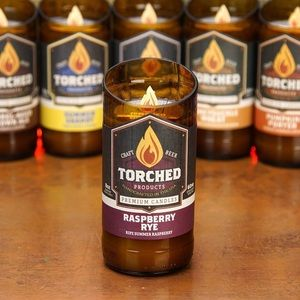 Torched Bottle Candle-Raspberry Rye